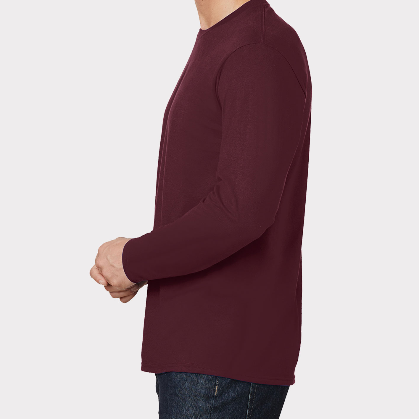 Maroon long-sleeve Sideview